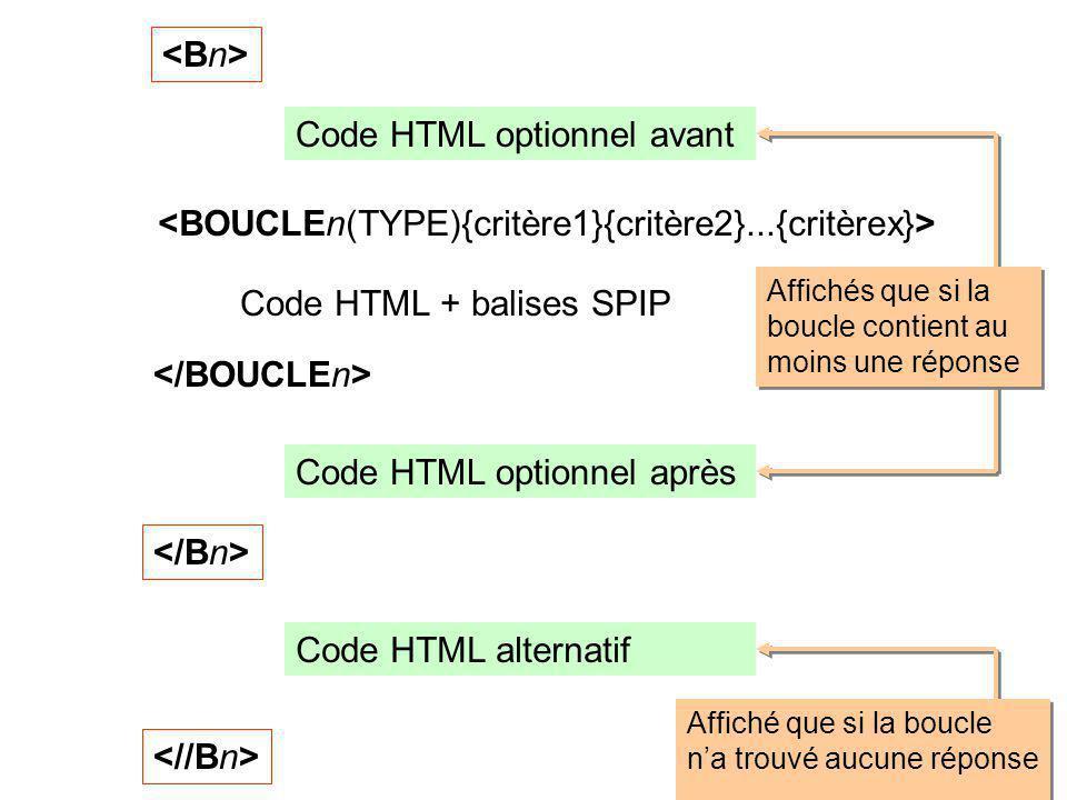 Code HTML + balises SPIP Code HTML optionnel avant Code HTML optionnel après Code HTML alternatif Affichés que si la boucle contient au moins une répo