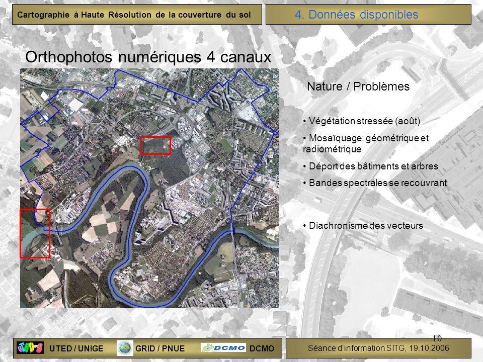 UTED / UNIGE GRID / PNUE DCMO Séance dinformation SITG, 19.10.2006 Cartographie à Haute Résolution de la couverture du sol 10 4. Données disponibles O