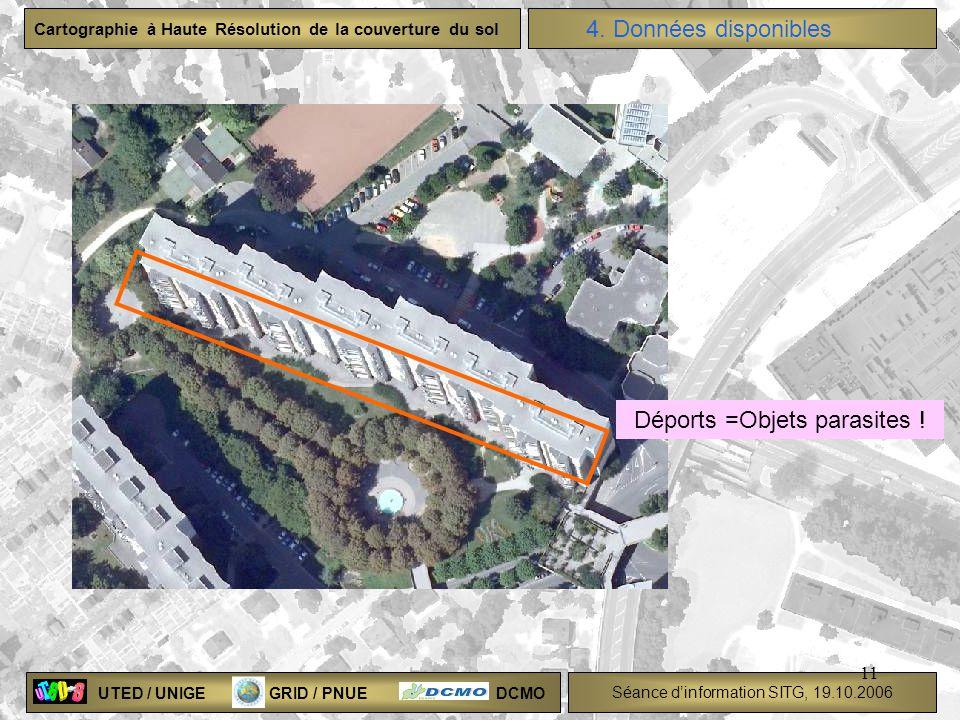 UTED / UNIGE GRID / PNUE DCMO Séance dinformation SITG, 19.10.2006 Cartographie à Haute Résolution de la couverture du sol 11 Déports =Objets parasite