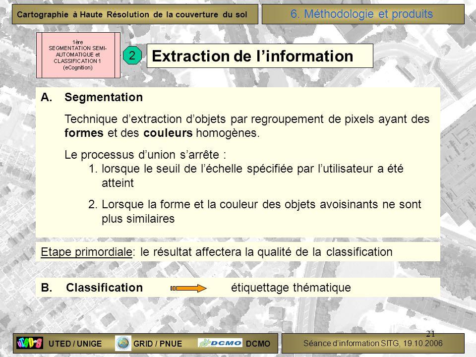 UTED / UNIGE GRID / PNUE DCMO Séance dinformation SITG, 19.10.2006 Cartographie à Haute Résolution de la couverture du sol 21 A.Segmentation Technique