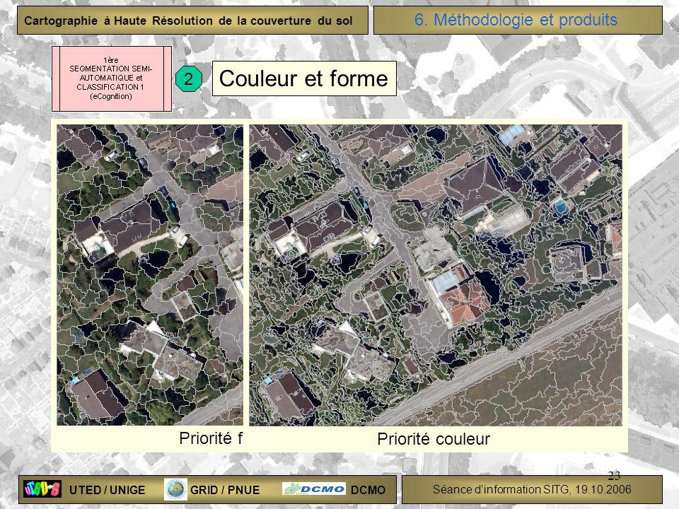 UTED / UNIGE GRID / PNUE DCMO Séance dinformation SITG, 19.10.2006 Cartographie à Haute Résolution de la couverture du sol 23 Couleur et forme Priorit