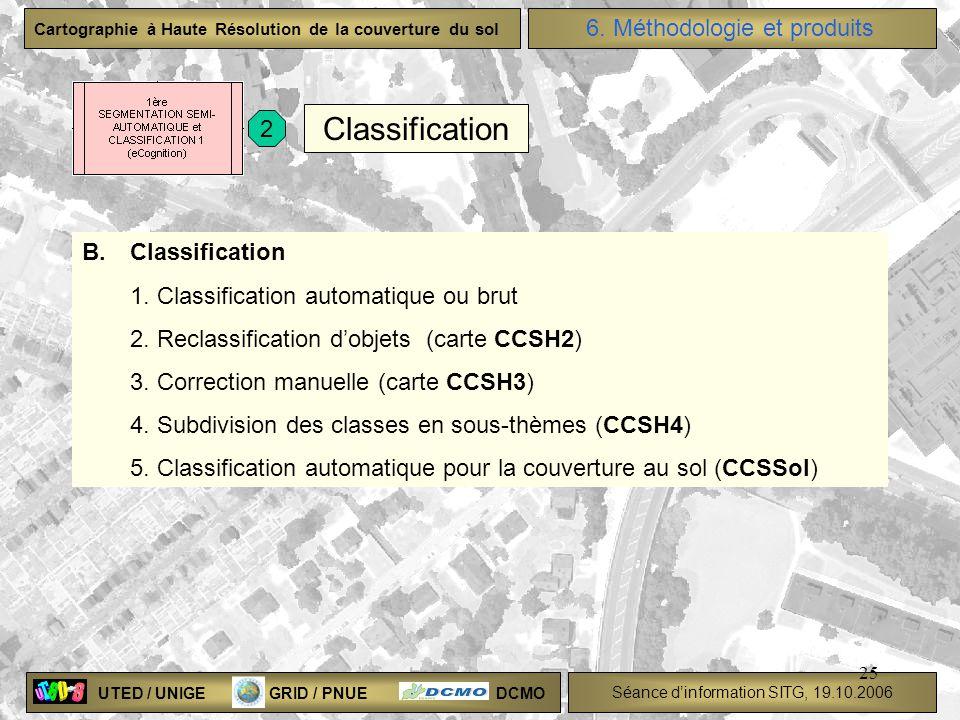 UTED / UNIGE GRID / PNUE DCMO Séance dinformation SITG, 19.10.2006 Cartographie à Haute Résolution de la couverture du sol 25 B.Classification 1. Clas