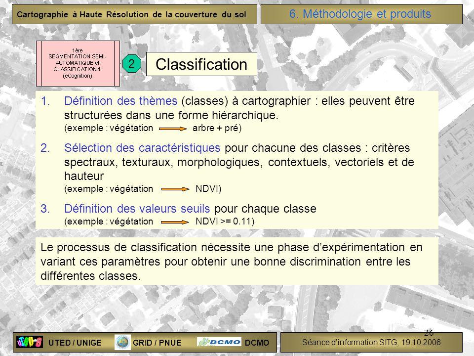 UTED / UNIGE GRID / PNUE DCMO Séance dinformation SITG, 19.10.2006 Cartographie à Haute Résolution de la couverture du sol 26 Classification 1.Définit