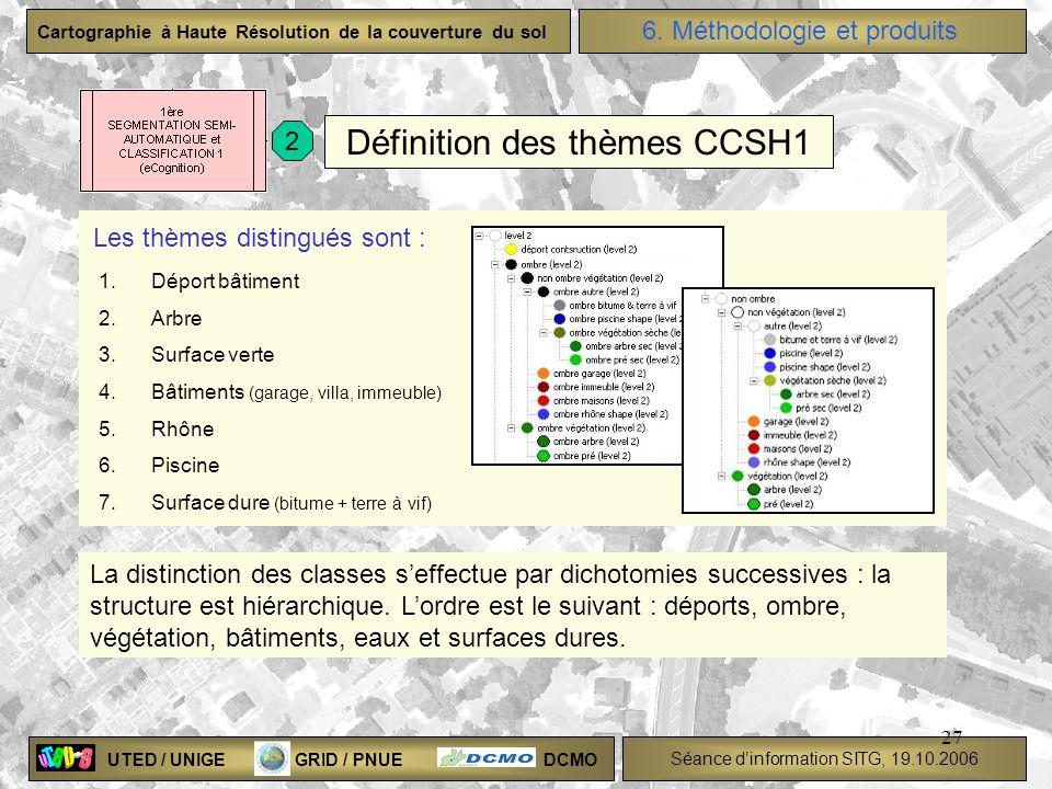 UTED / UNIGE GRID / PNUE DCMO Séance dinformation SITG, 19.10.2006 Cartographie à Haute Résolution de la couverture du sol 27 Définition des thèmes CC