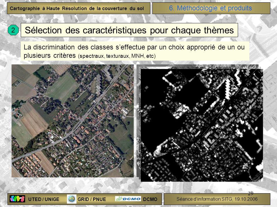 UTED / UNIGE GRID / PNUE DCMO Séance dinformation SITG, 19.10.2006 Cartographie à Haute Résolution de la couverture du sol 29 Sélection des caractéris