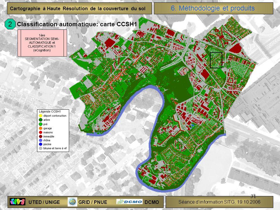 UTED / UNIGE GRID / PNUE DCMO Séance dinformation SITG, 19.10.2006 Cartographie à Haute Résolution de la couverture du sol 31 Classification automatiq