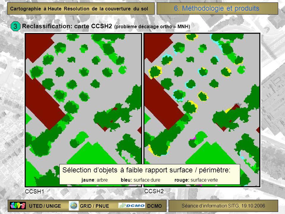 UTED / UNIGE GRID / PNUE DCMO Séance dinformation SITG, 19.10.2006 Cartographie à Haute Résolution de la couverture du sol Reclassification: carte CCS