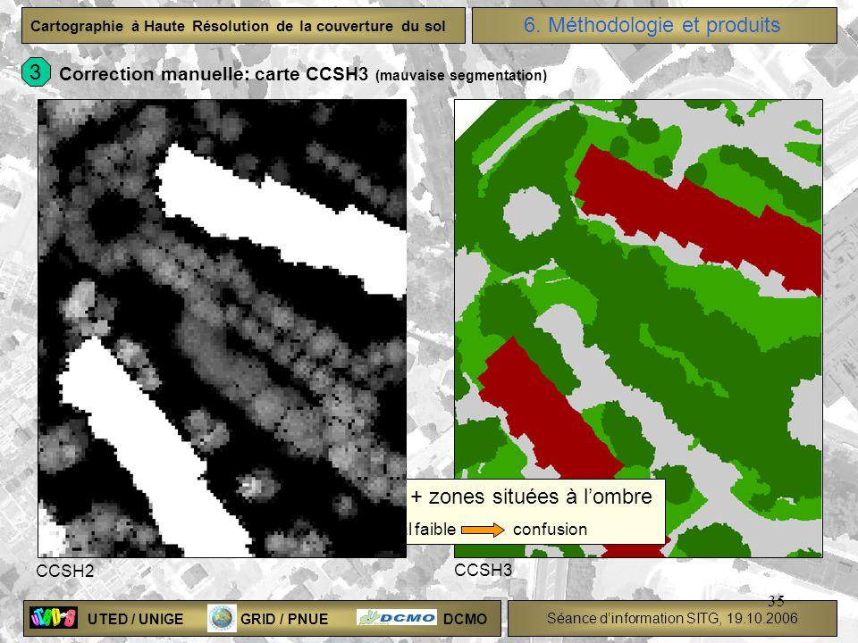 UTED / UNIGE GRID / PNUE DCMO Séance dinformation SITG, 19.10.2006 Cartographie à Haute Résolution de la couverture du sol 35 Déports bâtiments + zone