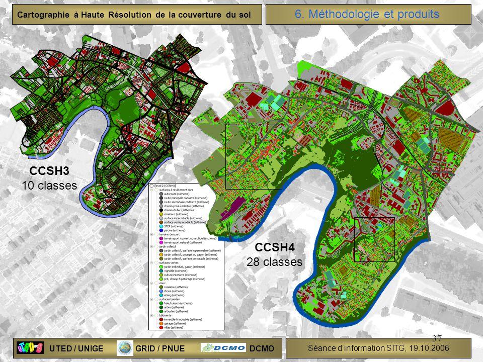 UTED / UNIGE GRID / PNUE DCMO Séance dinformation SITG, 19.10.2006 Cartographie à Haute Résolution de la couverture du sol 37 CCSH3 10 classes CCSH4 2