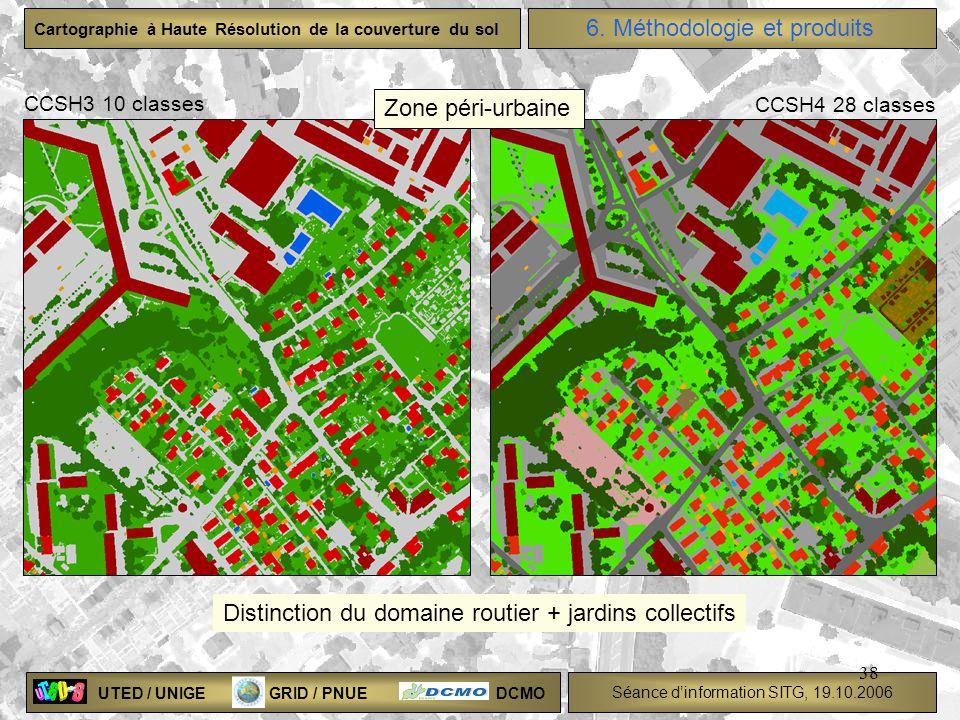 UTED / UNIGE GRID / PNUE DCMO Séance dinformation SITG, 19.10.2006 Cartographie à Haute Résolution de la couverture du sol 38 Distinction du domaine r