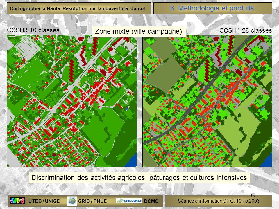 UTED / UNIGE GRID / PNUE DCMO Séance dinformation SITG, 19.10.2006 Cartographie à Haute Résolution de la couverture du sol 39 Discrimination des activ