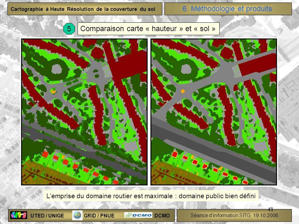 UTED / UNIGE GRID / PNUE DCMO Séance dinformation SITG, 19.10.2006 Cartographie à Haute Résolution de la couverture du sol 41 Comparaison carte « haut