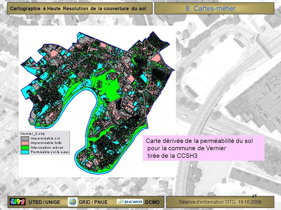 UTED / UNIGE GRID / PNUE DCMO Séance dinformation SITG, 19.10.2006 Cartographie à Haute Résolution de la couverture du sol 45 Carte dérivée de la perm