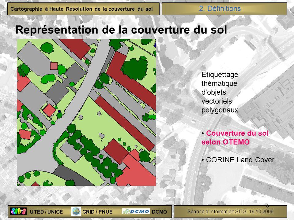 UTED / UNIGE GRID / PNUE DCMO Séance dinformation SITG, 19.10.2006 Cartographie à Haute Résolution de la couverture du sol 6 Représentation de la couv