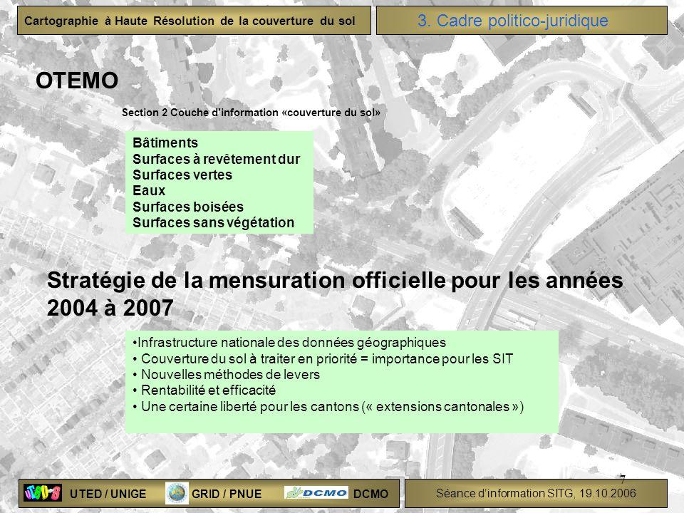UTED / UNIGE GRID / PNUE DCMO Séance dinformation SITG, 19.10.2006 Cartographie à Haute Résolution de la couverture du sol 7 OTEMO 3. Cadre politico-j