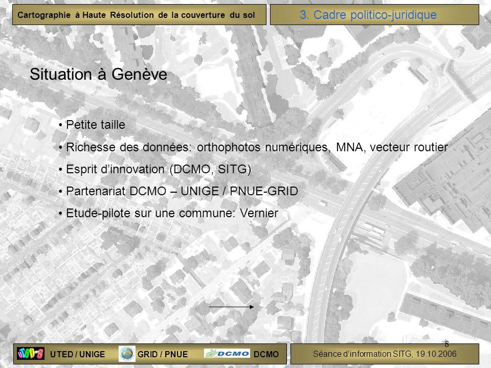UTED / UNIGE GRID / PNUE DCMO Séance dinformation SITG, 19.10.2006 Cartographie à Haute Résolution de la couverture du sol 8 3. Cadre politico-juridiq