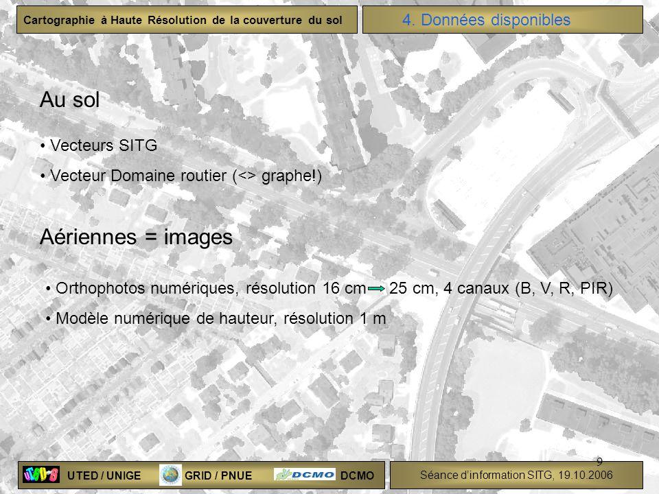 UTED / UNIGE GRID / PNUE DCMO Séance dinformation SITG, 19.10.2006 Cartographie à Haute Résolution de la couverture du sol 9 4. Données disponibles Au