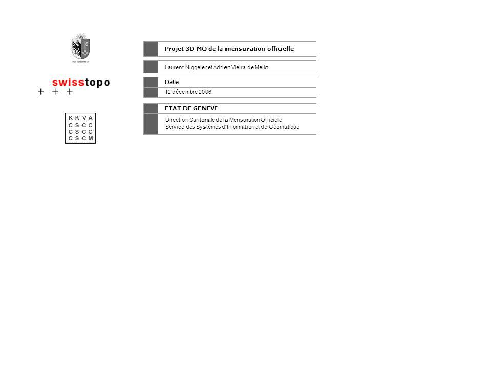 \\ Historique > 2000 - 2002 Identification d une étude pour l intégration de la 3D par la CSCC Enquête interne (cadastre, office fédéral de topographie) > Juin 2003 Création d un groupe de travail 3D-MO pour évaluer dans quelle mesure la 3D devrait devenir une composante de la mensuration officielle >> Création d un catalogue d objets et d un modèle de données en Interlis > Juin 2005 Création de 3 projets pilotes afin de prouver l ampleur, l utilité et la rentabilité de la saisie de la 3D dans la MO : >> Bettingen (BS) >> Thun (BE) >> Genève 1 /> Présentation PROJET 3D-MO > PRESENTATION > 3D-MO GENEVE > MODELE INTERLIS > ZONE PILOTE > PROCESSUS > MISES A JOUR > NOUVEAUX PRODUITS > CONCLUSION 3D-MO > FUTUR