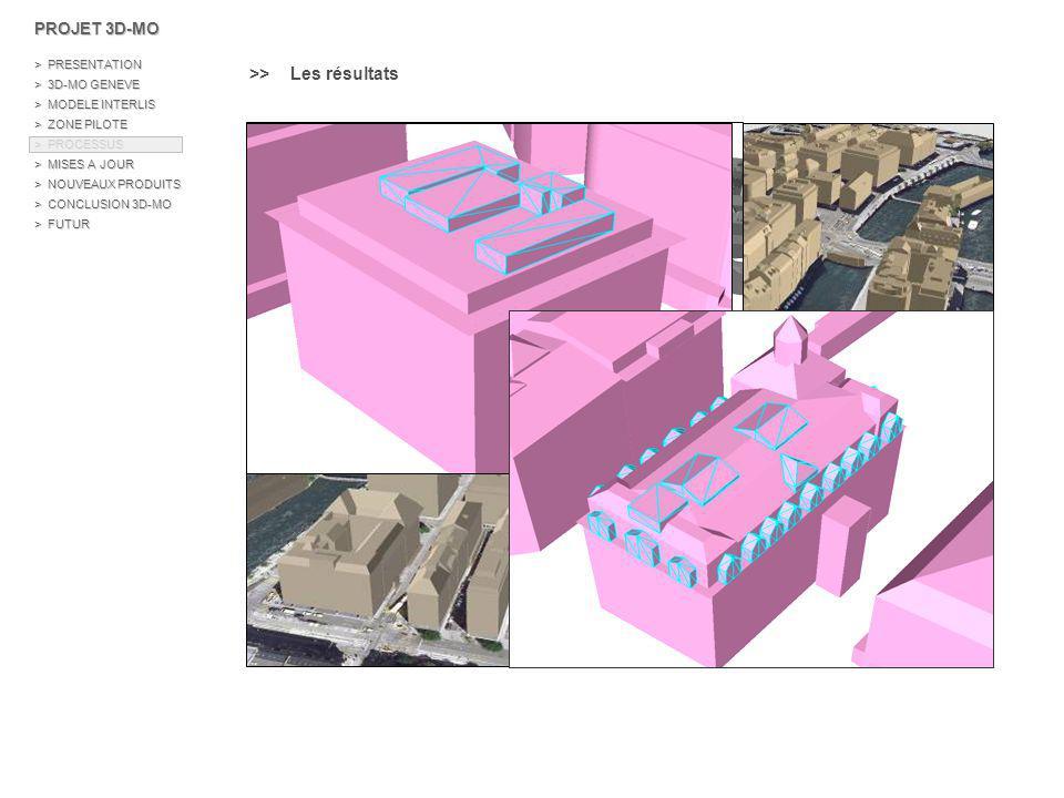 \\ Les bâtiments Reconstruction automatique > Reconstruction automatique avec des algorithmes d hypothèses de formes > Collaboration avec le laboratoire Matis de l IGN > Le laboratoire de recherche Matis Mission du groupe de travail BRIGE Production automatique ou semi-automatique de données vectorielles 3D pour la mise en place d une base urbaine 3D à grande échelle PROJET 3D-MO > PRESENTATION > 3D-MO GENEVE > MODELE INTERLIS > ZONE PILOTE > PROCESSUS > MISES A JOUR > NOUVEAUX PRODUITS > CONCLUSION 3D-MO > FUTUR