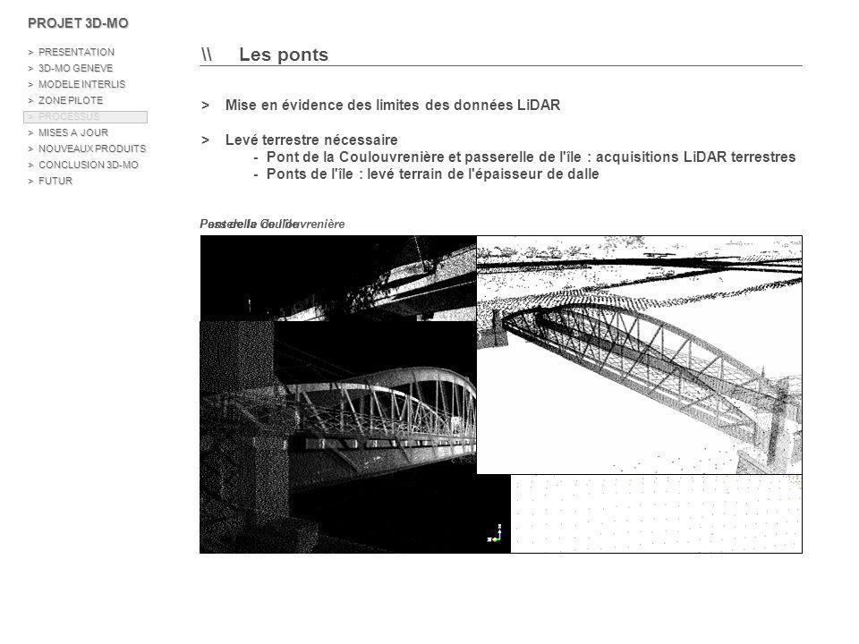 >> La modélisation et les résultats Exemple du pont de la Coulouvrenière 1/ Intégration du semi de points dans AutoCAD 2/ Digitalisation de polylignes 3D 3/ Création de polylignes simples planes 4/ Extrusion des faces latérales 5/ Suppression des points LiDAR 6/ Conversion au format ESRI PROJET 3D-MO > PRESENTATION > 3D-MO GENEVE > MODELE INTERLIS > ZONE PILOTE > PROCESSUS > MISES A JOUR > NOUVEAUX PRODUITS > CONCLUSION 3D-MO > FUTUR