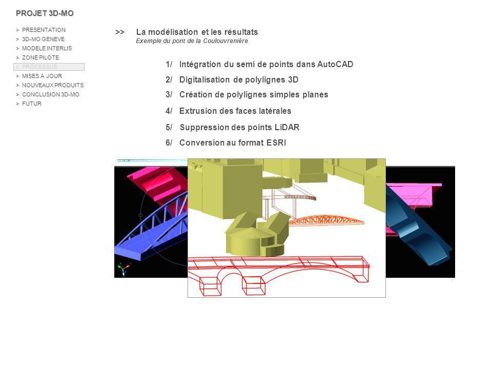 \\ Les escaliers > Représentation des objets surfaciques sous forme de Shape 3D polygon > 2 processus de modélisation étudiés : - Modélisation marche par marche 1/ Filtrage et transformation des données de la MO 2/ Création d une couche Shape Polygon des marches 3/ Sélection des points LiDAR au niveau de chaque marche 4/ Calculs statistiques (médian, min, max…) 5/ Création de polygones 3D PROJET 3D-MO > PRESENTATION > 3D-MO GENEVE > MODELE INTERLIS > ZONE PILOTE > PROCESSUS > MISES A JOUR > NOUVEAUX PRODUITS > CONCLUSION 3D-MO > FUTUR