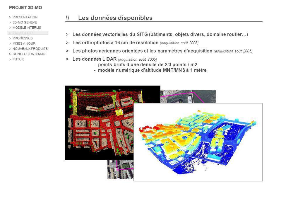 \\ Modèle de données des classes d objets de la zone pilote 5 /> Les processus de modélisation BATIMENTObjet 3D Multipatch ESRI Objets volumiques PONT / PASSERELLEObjet 3D Multipatch ESRI ESCALIERShape 3D Polygon Objets surfaciques Objets ponctuels LAMPADAIREShape 3D Point ARBREShape 3D Point ANTENNEShape 3D Point Objets surfaciques TROTTOIR / CHEMIN PIETONTIN (Triangulated Irregular Network) CHAUSSEETIN ILOTTIN PROJET 3D-MO > PRESENTATION > 3D-MO GENEVE > MODELE INTERLIS > ZONE PILOTE > PROCESSUS > MISES A JOUR > NOUVEAUX PRODUITS > CONCLUSION 3D-MO > FUTUR