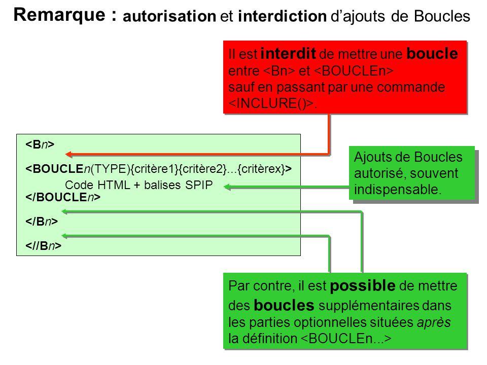 Code HTML + balises SPIP Remarque : Il est interdit de mettre une boucle entre et sauf en passant par une commande. Il est interdit de mettre une bouc