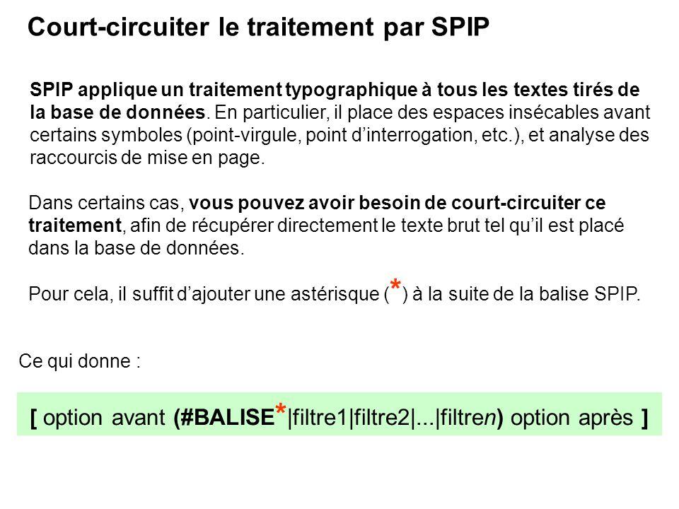 [ option avant (#BALISE * |filtre1|filtre2|...|filtren) option après ] Court-circuiter le traitement par SPIP SPIP applique un traitement typographiqu