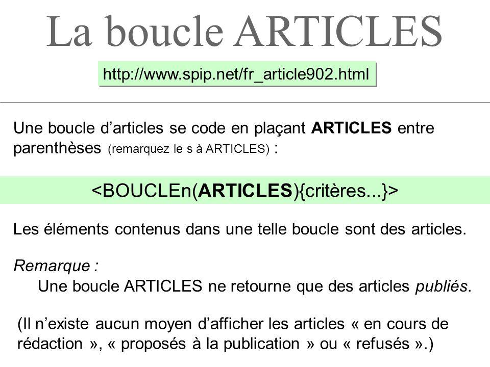 La boucle ARTICLES Une boucle darticles se code en plaçant ARTICLES entre parenthèses (remarquez le s à ARTICLES) : (Il nexiste aucun moyen dafficher