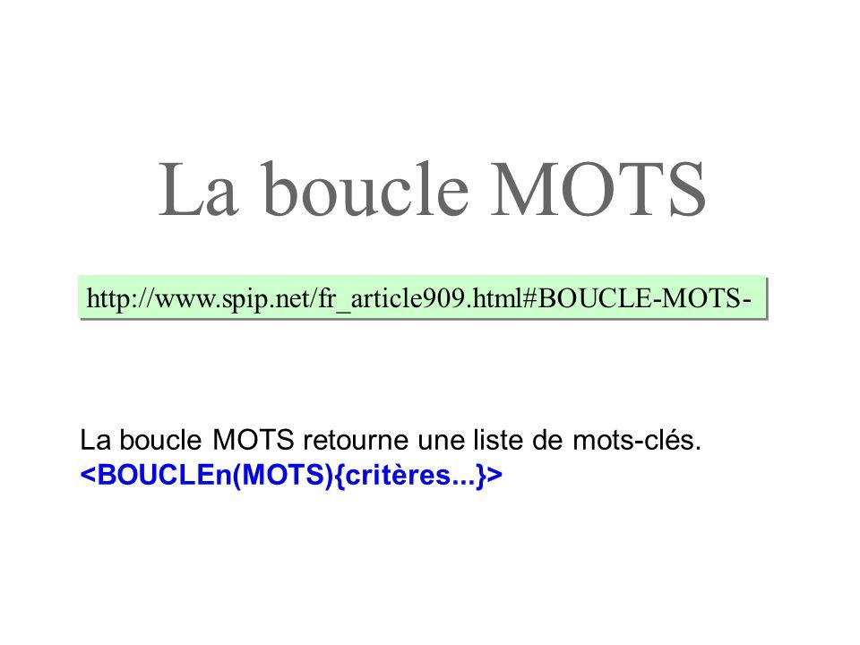 La boucle MOTS http://www.spip.net/fr_article909.html#BOUCLE-MOTS- La boucle MOTS retourne une liste de mots-clés.
