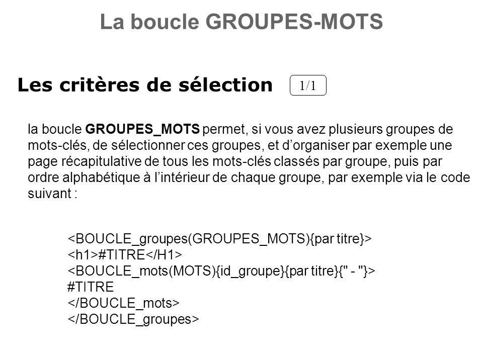 Les critères de sélection 1/1 la boucle GROUPES_MOTS permet, si vous avez plusieurs groupes de mots-clés, de sélectionner ces groupes, et dorganiser p