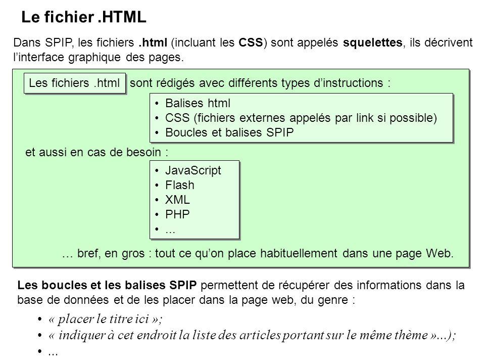 Dans SPIP, les fichiers.html (incluant les CSS) sont appelés squelettes, ils décrivent linterface graphique des pages. Balises html CSS (fichiers exte