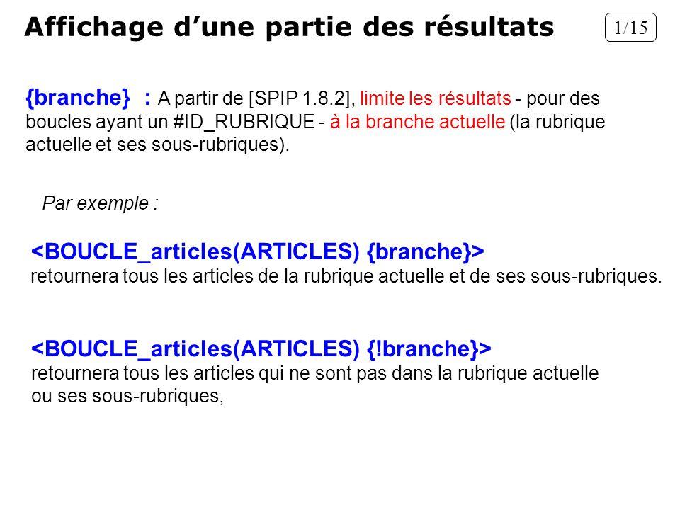Affichage dune partie des résultats {branche} : A partir de [SPIP 1.8.2], limite les résultats - pour des boucles ayant un #ID_RUBRIQUE - à la branche