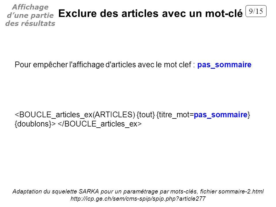 Pour empêcher l'affichage d'articles avec le mot clef : pas_sommaire Adaptation du squelette SARKA pour un paramétrage par mots-clés, fichier sommaire