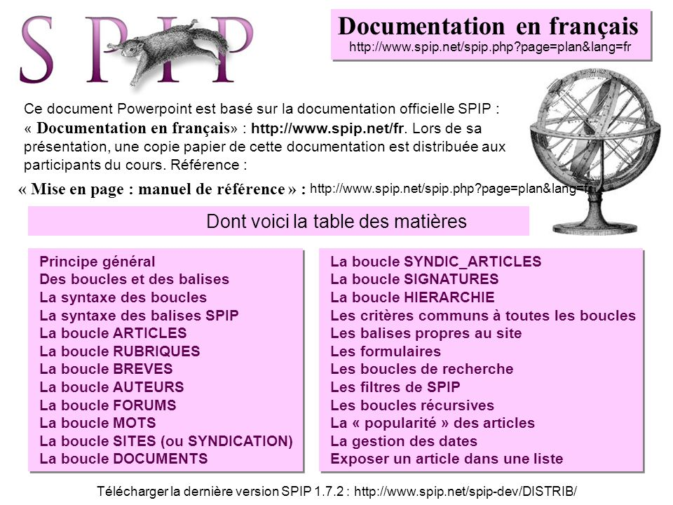 Documentation en français http://www.spip.net/spip.php?page=plan&lang=fr Ce document Powerpoint est basé sur la documentation officielle SPIP : « Docu