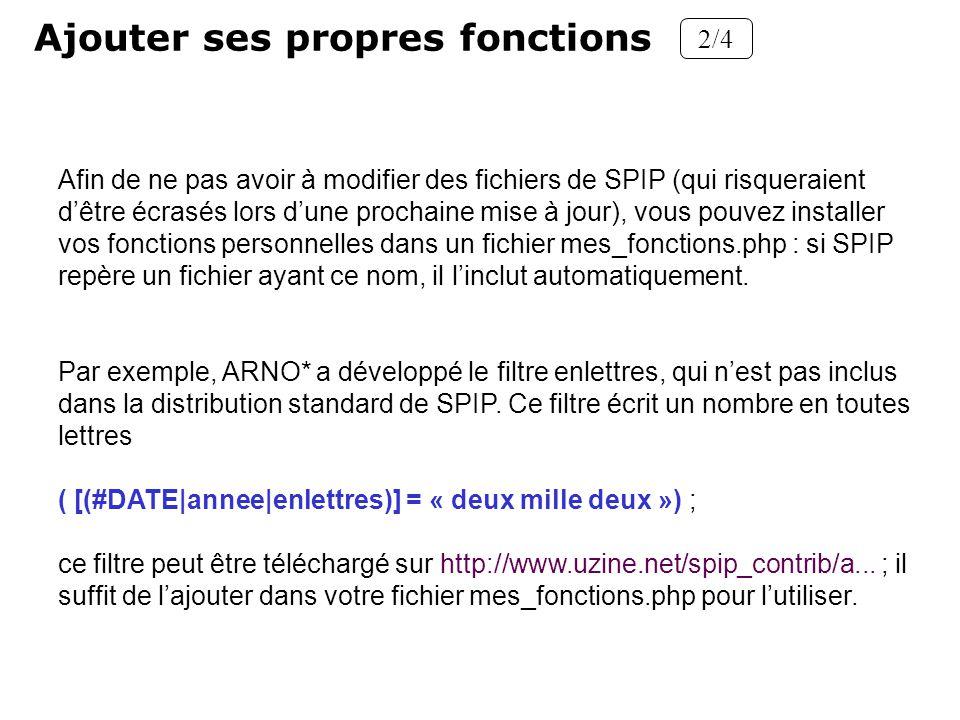 Ajouter ses propres fonctions 2/4 Afin de ne pas avoir à modifier des fichiers de SPIP (qui risqueraient dêtre écrasés lors dune prochaine mise à jour