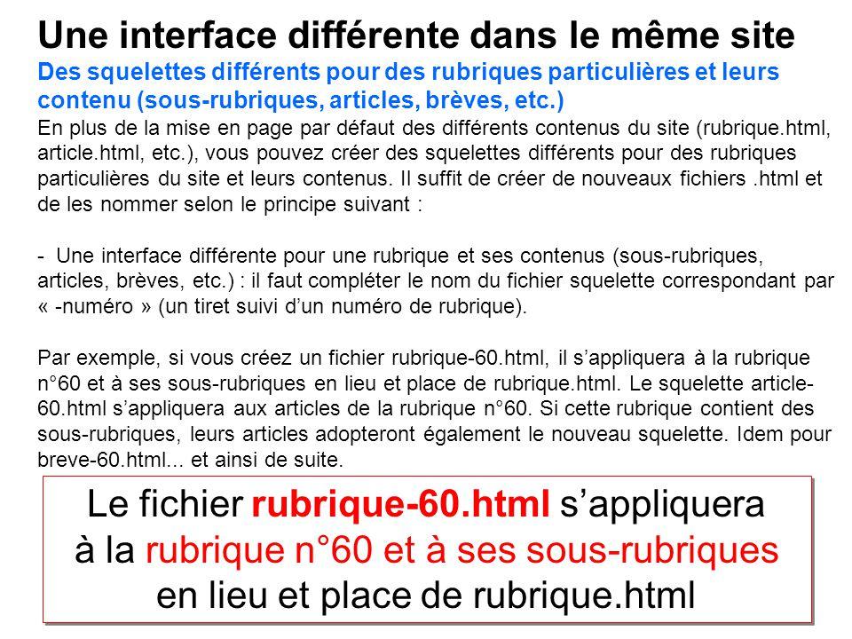 Une interface différente dans le même site Des squelettes différents pour des rubriques particulières et leurs contenu (sous-rubriques, articles, brèv