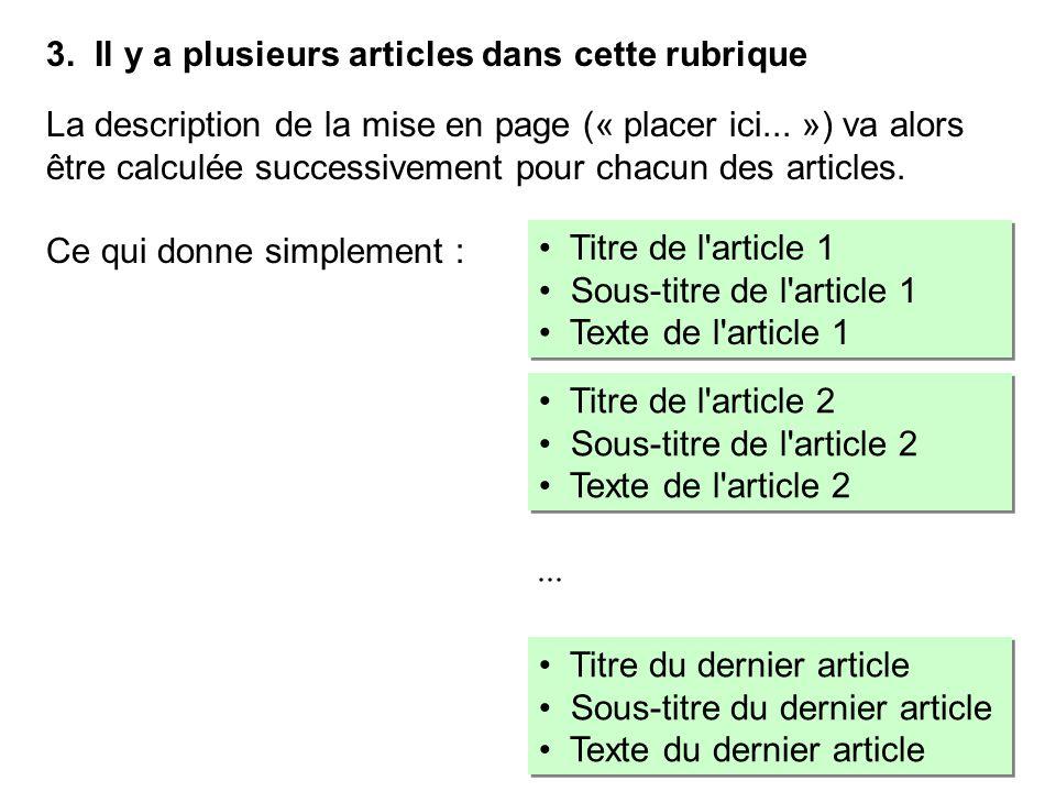 3. Il y a plusieurs articles dans cette rubrique La description de la mise en page (« placer ici... ») va alors être calculée successivement pour chac