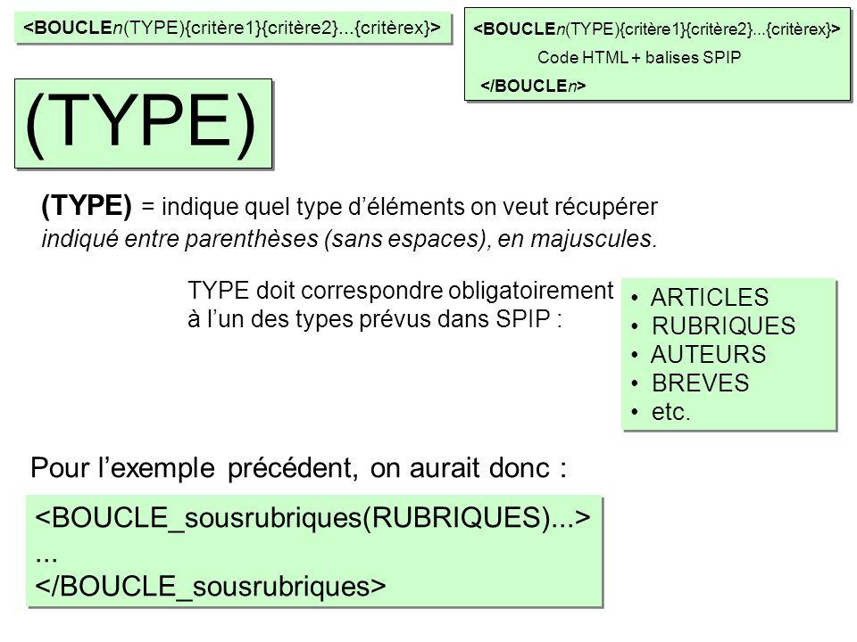 ARTICLES RUBRIQUES AUTEURS BREVES etc. ARTICLES RUBRIQUES AUTEURS BREVES etc. Code HTML + balises SPIP (TYPE) (TYPE) = indique quel type déléments on