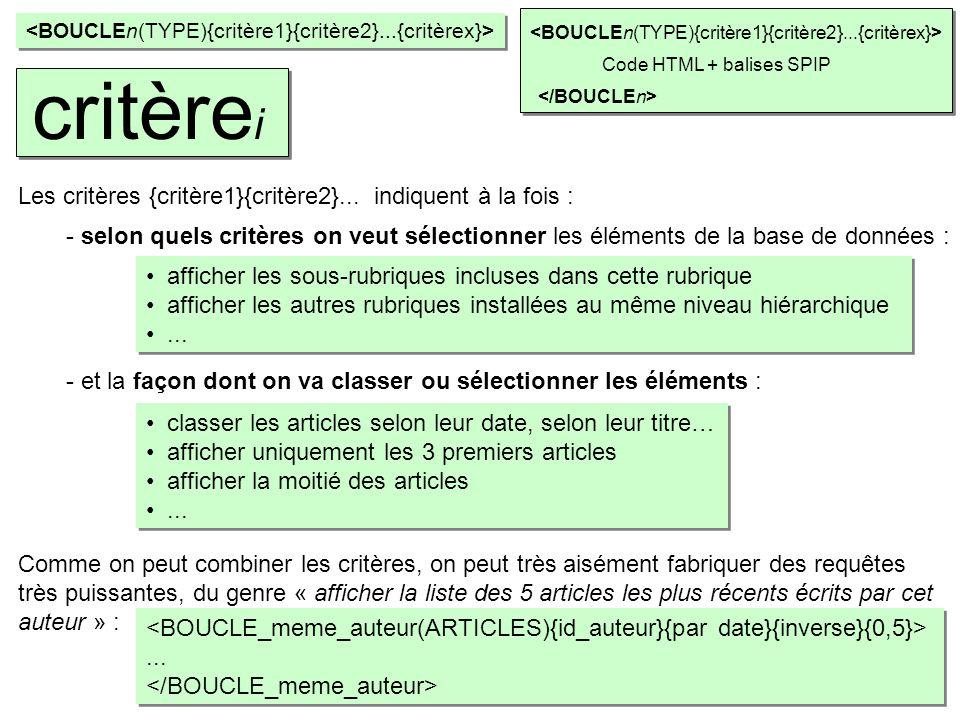 ...... Code HTML + balises SPIP critère i Les critères {critère1}{critère2}... indiquent à la fois : Comme on peut combiner les critères, on peut très