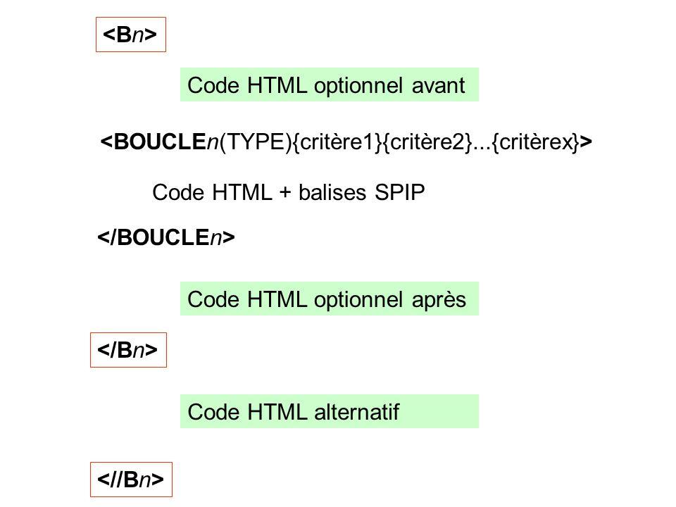 Code HTML + balises SPIP Code HTML optionnel avant Code HTML optionnel après Code HTML alternatif