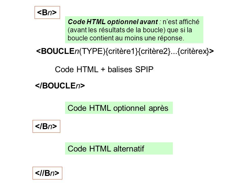 Code HTML + balises SPIP Code HTML optionnel avant : nest affiché (avant les résultats de la boucle) que si la boucle contient au moins une réponse. C