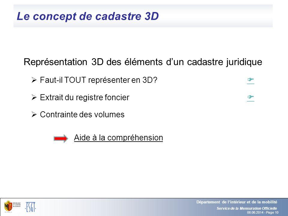 08.06.2014 - Page 10 Le concept de cadastre 3D Représentation 3D des éléments dun cadastre juridique Faut-il TOUT représenter en 3D? Extrait du regist