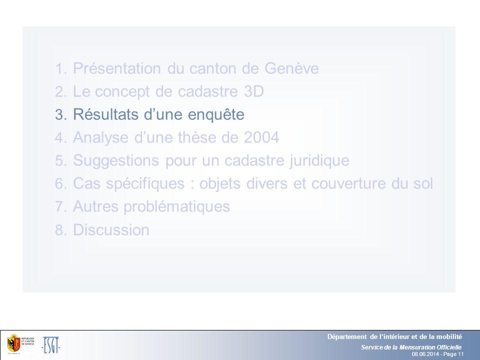 08.06.2014 - Page 11 Service de la Mensuration Officielle Département de lintérieur et de la mobilité 1. Présentation du canton de Genève 2. Le concep