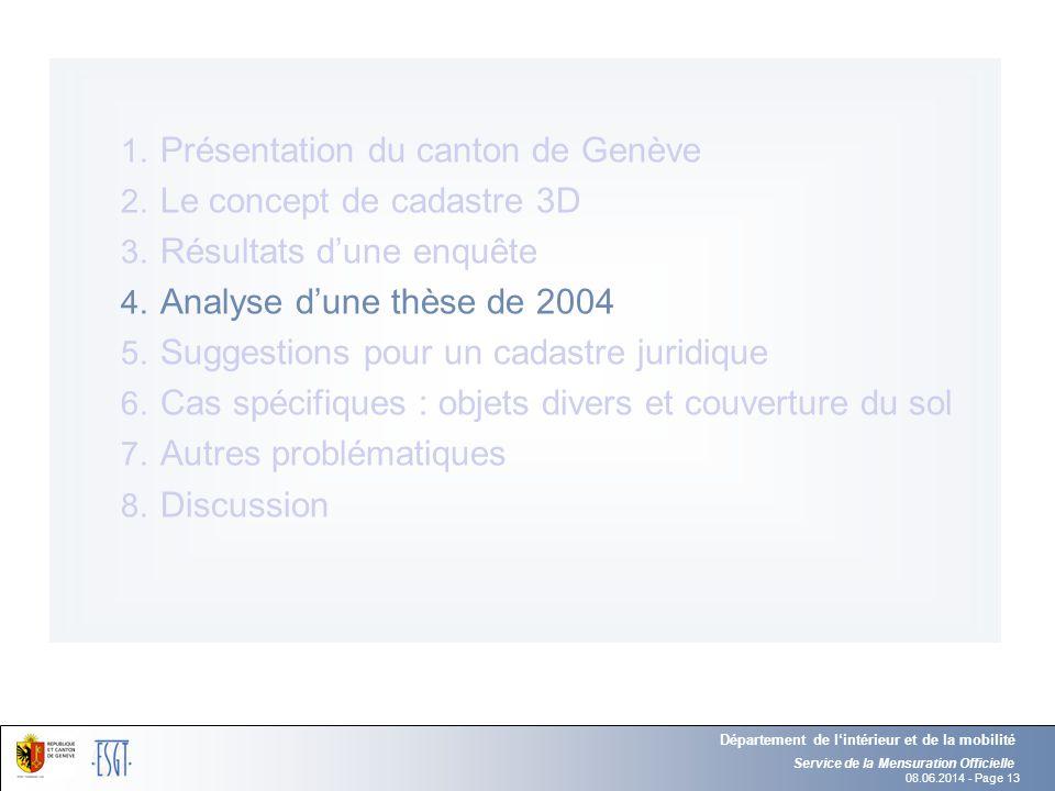 08.06.2014 - Page 13 Service de la Mensuration Officielle Département de lintérieur et de la mobilité 1. Présentation du canton de Genève 2. Le concep