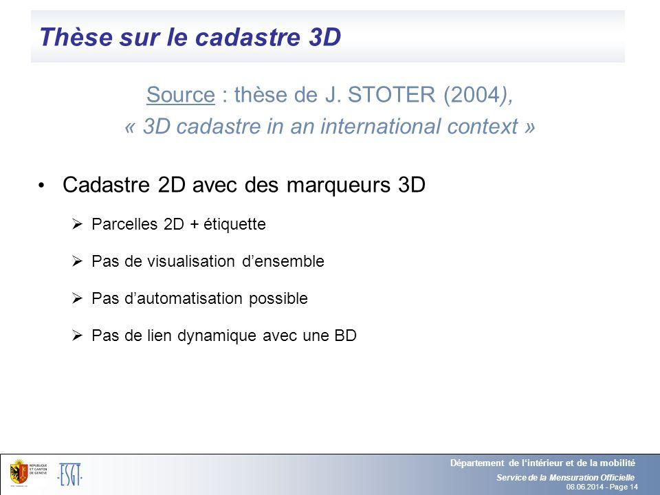08.06.2014 - Page 14 Thèse sur le cadastre 3D Source : thèse de J. STOTER (2004), « 3D cadastre in an international context » Cadastre 2D avec des mar