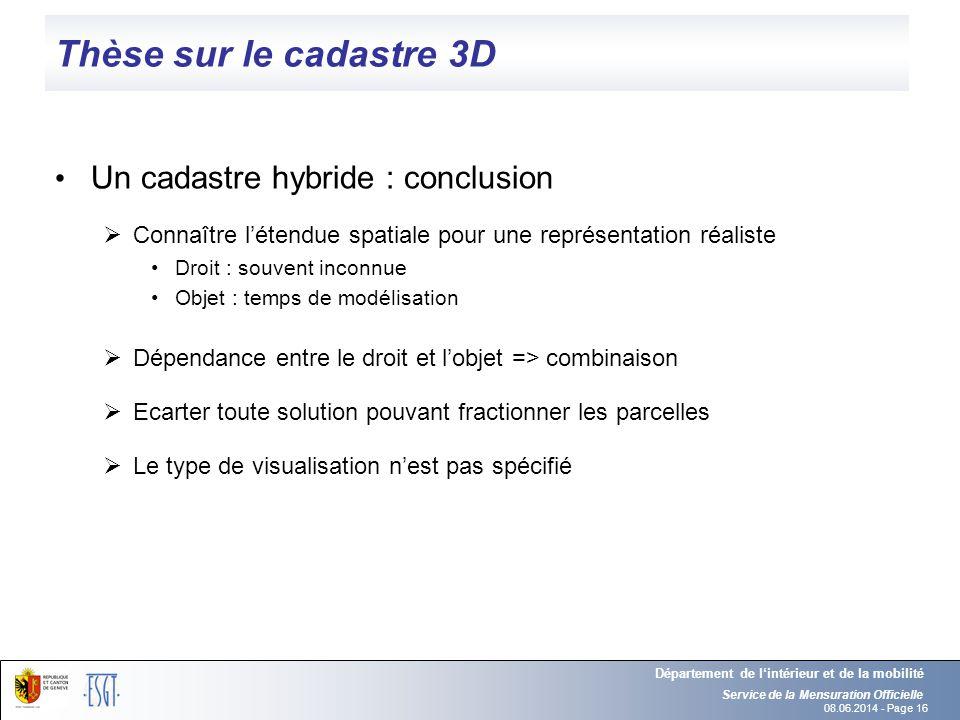 08.06.2014 - Page 16 Thèse sur le cadastre 3D Un cadastre hybride : conclusion Connaître létendue spatiale pour une représentation réaliste Droit : so