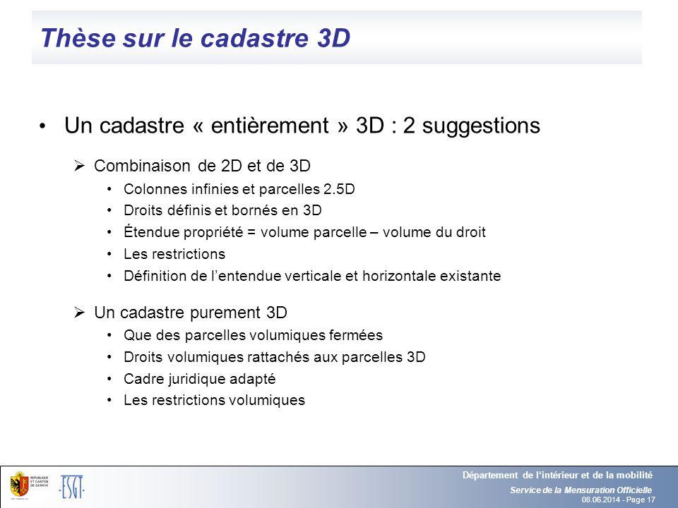 08.06.2014 - Page 17 Thèse sur le cadastre 3D Un cadastre « entièrement » 3D : 2 suggestions Combinaison de 2D et de 3D Colonnes infinies et parcelles