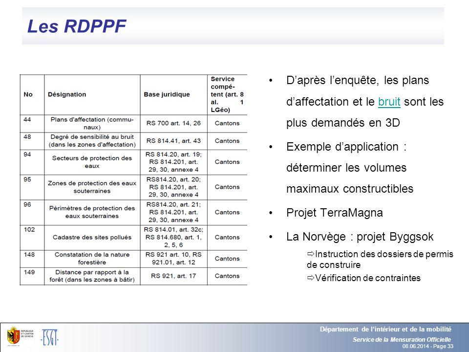 08.06.2014 - Page 33 Les RDPPF Daprès lenquête, les plans daffectation et le bruit sont les plus demandés en 3Dbruit Exemple dapplication : déterminer