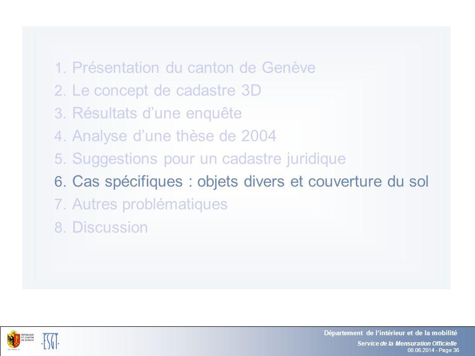 08.06.2014 - Page 36 Service de la Mensuration Officielle Département de lintérieur et de la mobilité 1. Présentation du canton de Genève 2. Le concep